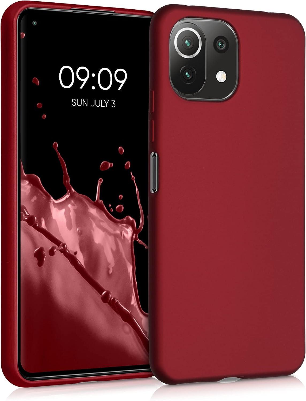 kwmobile Carcasa Compatible con Xiaomi Mi 11 Lite (5G) - Funda de Silicona para móvil - Cover Trasero en Rojo Oscuro Metalizado