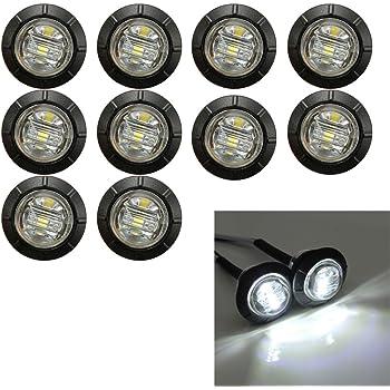 amarillo Qiilu 4 piezas 12V 8mm Panel LED Piloto Dash Indicador de luz de advertencia L/ámpara Car Van Boat