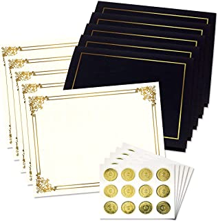 Ornate Empire Award Certificate Collection with Gold Seals - Includes 25 Blank-Inside Certificate Papers, 25 Heavy Linen Black with Gold Border Certificate folders, 25 Gold foil Seals