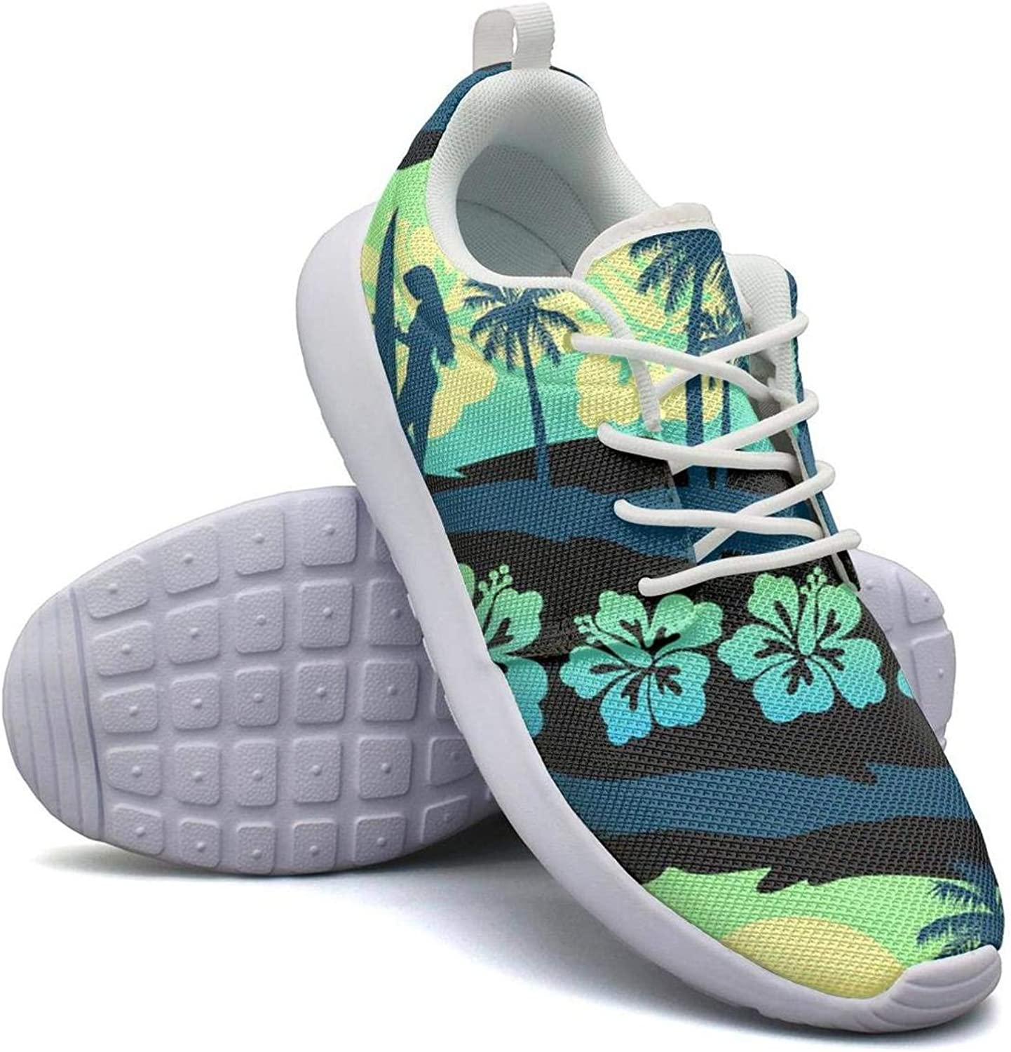 CHALi99 Fashion Female Youth Lightweight Mesh shoes Beach Sunrise Palm Leaves Loafers Athletic Rubber Sole