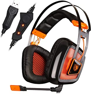 SADES A8 7.1 Surround Sound Over Ear PC USB Gaming Headset Microphone Vibration Noise Canceling LED