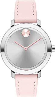 Women's Bold Evolution Stainless Steel Quartz Watch with Leather Strap, Pink, 15 (Model: 3600641)