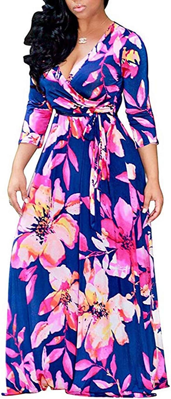 Locryz Women's V Neck 3 Max 65% OFF Popular brand 4 Sleeve African Lo Party Printed Floral