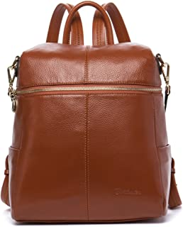 BOSTANTEN Geniune Leather Fashion Backpack Purse Casual School Bags for Women Brown
