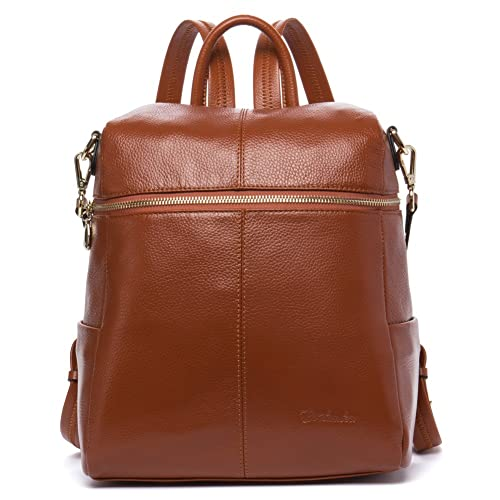 77f27811721e BOSTANTEN Geniune Leather Fashion Backpack Purse Casual Bags for Women Brown