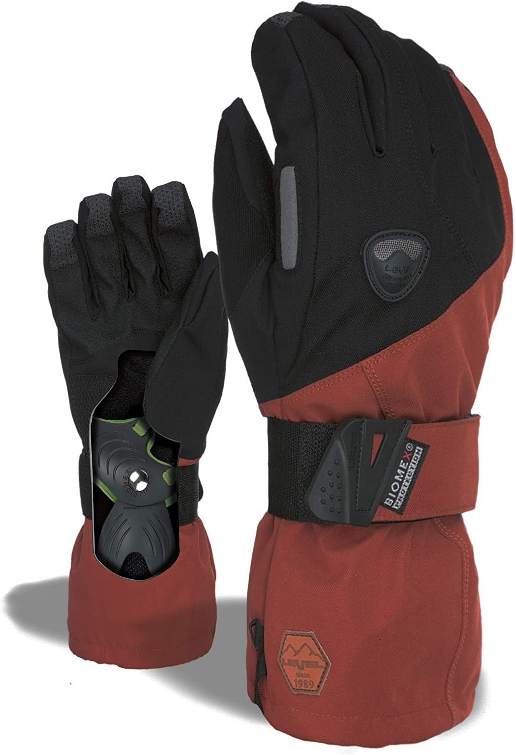 LEVEL Fly Snowboard Gloves with Wrist Guards, Proven BioMex Design, Kevlar Palms, Removable Liner (Scottish Brown, Medium (8.0in))