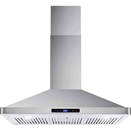 Amazon Com Cosmo 63190 36 In Wall Mount Range Hood With Ductless Convertible Duct Kitchen Chimney Style Over Stove Vent 3 Speed Exhaust Fan Permanent Filters Led Lights In Stainless Steel Appliances