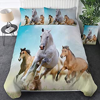 Sleepwish Galloping Horse Bedding Wild Horses Running in Dust Print Bed Set 3 Pieces Western Bedding Sets Cowboy Cowgirl Bedspread (Twin)
