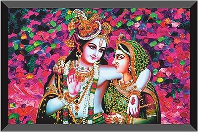SAF Radha Krishna Design Exclusive Art with Frame (14 inch X 20 inch) AANFM44