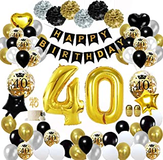 MMTX 40 Globos Cumpleaños Decoracione oro negro, Happy Birthday cumpleaños, Pompones de papel, Globos de papel de oro para hombres y mujeres Adultos Decoración de fiesta (60 piezas)