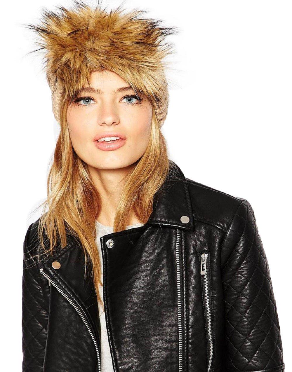 JJ-GOGO Winter Fashion Knitted Faux Fur Trim Elastic Hairband Ear Warmer Hat (Beige)