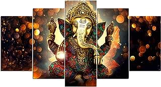 Toopia 5 PCS HD Canvas Printed Wall Art Poster Artwork - Hindu God Ganesh Elephant Painting - Home Decor Pictures for Living Room (8x14inchx 2pcs, 8x18inchx 2pcs, 8x22inchx 1pcs, No Wooden Frame)
