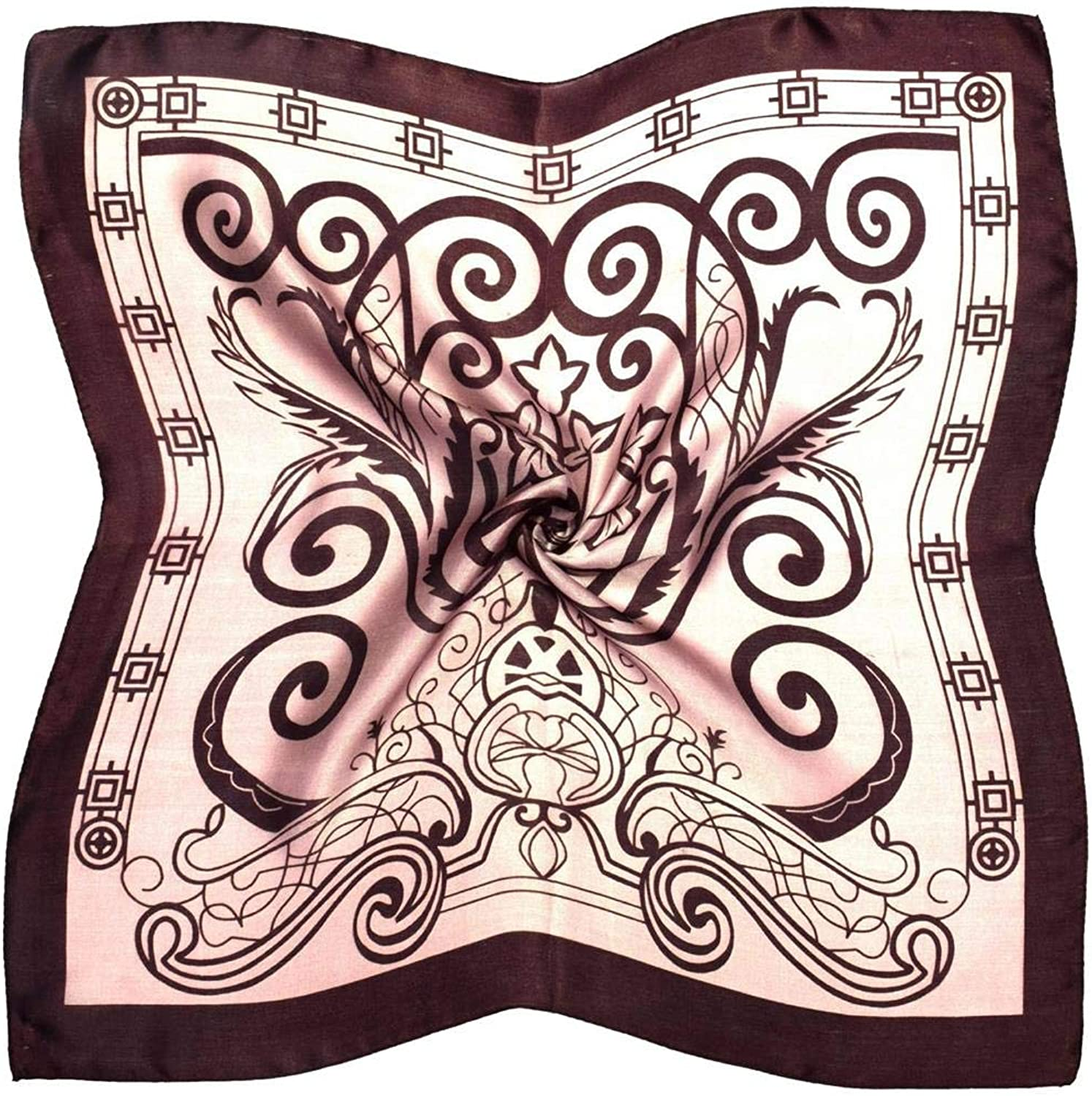 Brown Abstract Fine Silk Small Square Scarf