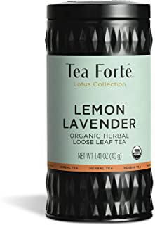 Tea Forte Lemon Lavender Organic Herbal Tea, Loose Tea Canister Makes 35-50 Cups, Lotus Organic Tea, 1.41 Ounces