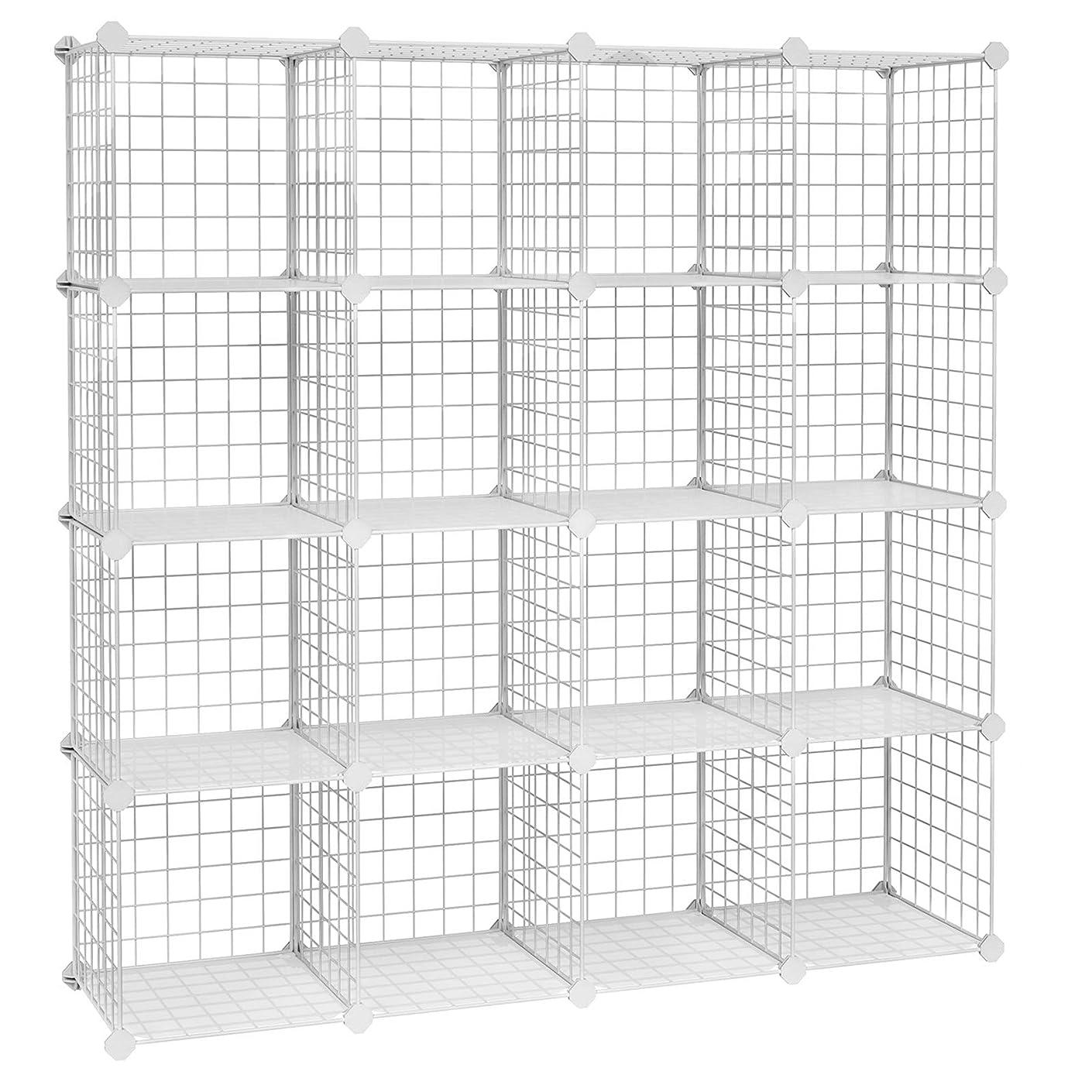 "SONGMICS Metal Wire Cube Storage,16-Cube Shelves Organizer,Stackable Storage Bins, Modular Bookcase, DIY Closet Cabinet Shelf, 48.4""L x 12.2""W x 48.4""H, White ULPI44W"