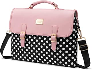 LOVEVOOK Computer Bags for Women, Laptop Bag 15.6 Inch, Laptop Case with Trolley Sleeve, Polka Dots Pink Messenger Bag, Su...