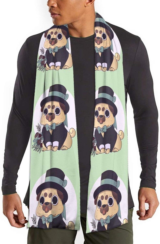 Womens Winter Scarf Funny Pug Cute Gentleman Wraps Warm Pashmina Shawls Gift Reversible Soft For Girls