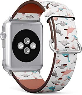 [ Compatible with Small Apple Watch 38mm / 40 mm ] Replacement Leather Band Bracelet Strap Wristband Accessory // Funny Dinosaurs Cute