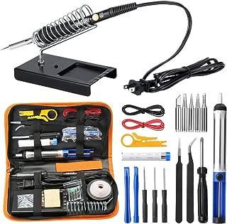 URCERI Soldering Iron Kit Electronics 26-in-1, 60W Adjustable Temperature Welding Tool, 6 pcs Soldering Tips with Desoldering Pump, Soldering IronStand, ESD Tweezers, Solder Wick, Wire Stripper Cutter