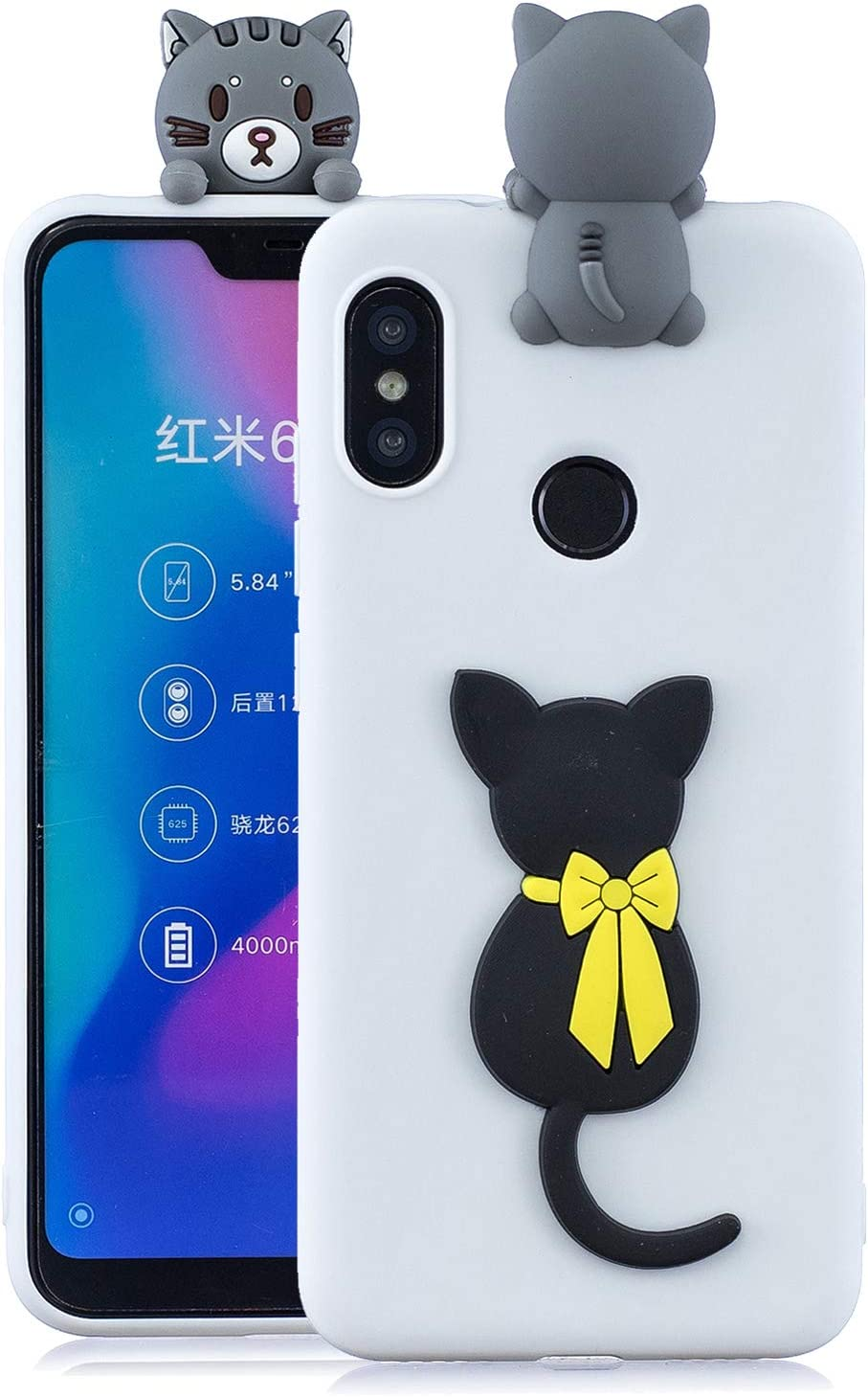 Funluna Funda para Xiaomi Mi A2 Lite, 3D Gato Negro Patrón Cover Ultra Delgado TPU Goma Cover Suave Carcasa Silicona Gel Anti-Rasguño Protectora Espalda Caso Bumper Case para Xiaomi Mi A2 Lite