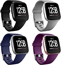 Neitooh 4 Packs Bands Compatible with Fitbit Versa/Versa 2/Fitbit Versa Lite for Women and Men, Classic Soft Silicone Spor...