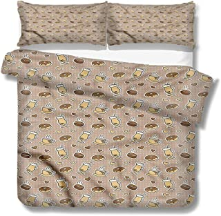 Mademai Queen Size Duvet Cover Set Coffee,Heart Motifs Cups Doughnuts Decorative 3 Piece Bedding Set with 2 Pillow Shams