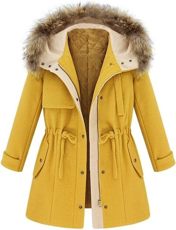 Forwelly Women's Winter Mid Long Overcoat Warm Drawstring Waist Slim Coat Hooded Jacket Outdoor Windproof Trechcoat