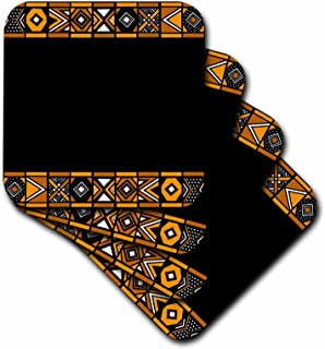 3dRose Brown and Black African Pattern - Art of Africa Inspired by Zulu Beadwork Geometric Designs - Soft Coasters, Set of 4 (CST_76556_1)