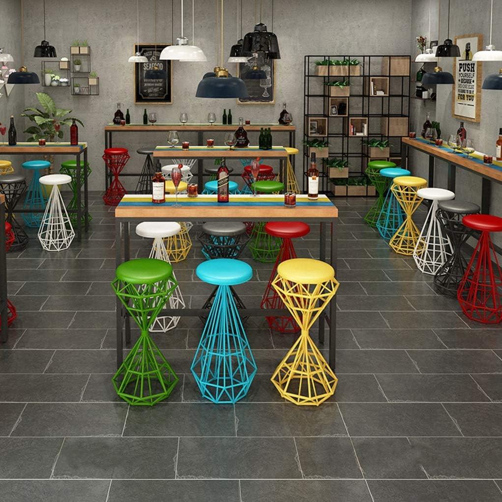 Chaise de Salle à Manger Tabouret de bar simple Tabouret de bar en fer forgé Tabouret haut Chaise de salle à manger Chaise en fer forgé Chaise de bar (Color : Red) Black
