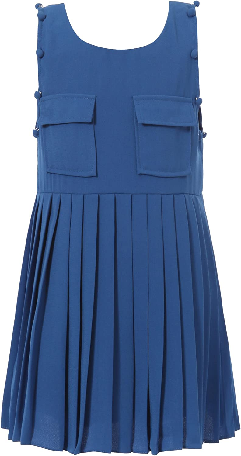 Richie House Little Girls' Pleated Sundress with 2 Pockets & Buttons RH0967