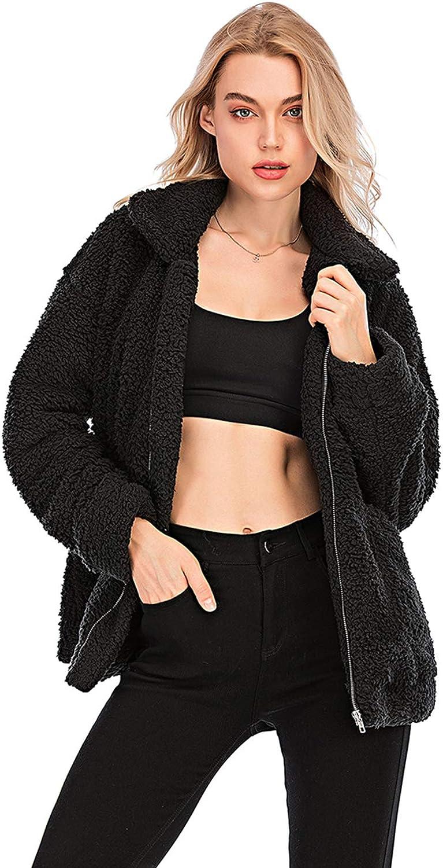 Womens Faux Shearling Jacket, Casual Lapel Fleece Fuzzy Jacket Shaggy Oversized Jacket Fashion Cardigan Coat