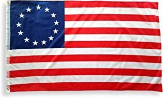 3x5 Betsy Ross Flag with Two Brass Grommets, Double Stitched Edges, and 100% Polyester Fabric , 13 Star Flag 3x5 , Revolutionary War 3x5 American Flag , Old American Flag US History Colonial Flag