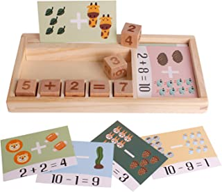 Wooden Children's Preschool Learning Activities Number Puzzle Puzzle Game 3-6 Years Old Boys and Girls' Addition and Subtr...
