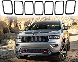 YAV Gloss Black Grill Inserts Front Grille for Jeep Grand Cherokee 2017 2018 2019 Accessories Ring Kit Trim Covers 7PC