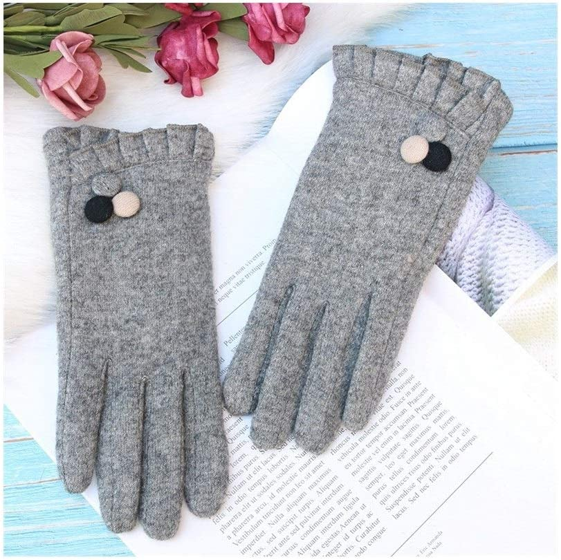 Winter Gloves Wool Gloves Touch Screen Double Thick Warm Driving Gloves (Color : Gray, Size : One Size)