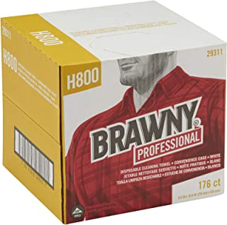 Brawny Professional H800 Disposable Cleaning Towel by GP PRO (Georgia-Pacific), 29311, Convenience Case, White, 1 Box of 176 Wipers