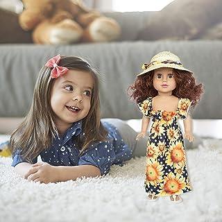 Lalki z kręconymi włosami dla dzieci, sukienki dla lalek księżniczki Sukienka z nadrukiem Księżniczka lalka Lalki winylowe...