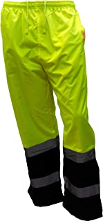 New York Hi-Viz Workwear WP0212 Insulated thermal lined Waterproof Rain Pants Over Trousers (SET OF 2 Lime, Extra Large)