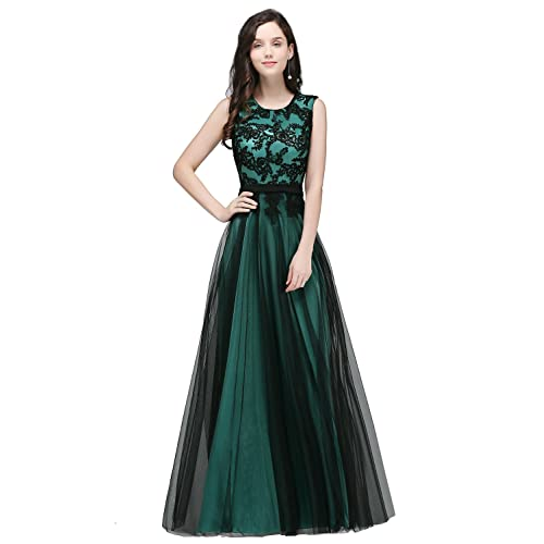 01ced535f594 Babyonlinedress Crew Neck Black Lace Overlay Applique Evening Long Prom  Dress