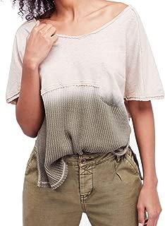 We The Free Womens Sun Dial Linen Blend Dip Dye T-Shirt Green S
