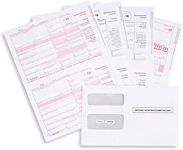 1099 MISC Forms 2019, 4 Part Tax Forms Kit, 25 Vendor Kit of Laser Forms Designed for QuickBooks and Accounting Software, 25 Self Seal Envelopes Included