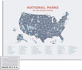 """Kindred Sol Collective USA National Park Map (24"""" x 17"""") - Interactive Educational National Park Poster of All 59 US National Parks - Made in The USA on Heavy-Duty Cardstock"""
