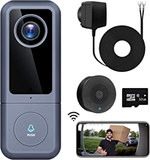 WiFi Video Doorbell Camera, XTU Doorbell Camera with Chime, 2K Ultra HD, 2-Way Audio, Cloud Storage and 32GB SD Card Included, Easy Installation (Existing Doorbell Wiring or Provided Adapter)