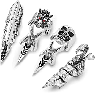 PiercingJ Men's Armor Knuckle Joint Full Finger Double Ring Punk Rock Gothic Armour Hinged Activity Rings Halloween Cosplay Costume Accessories Jewelry