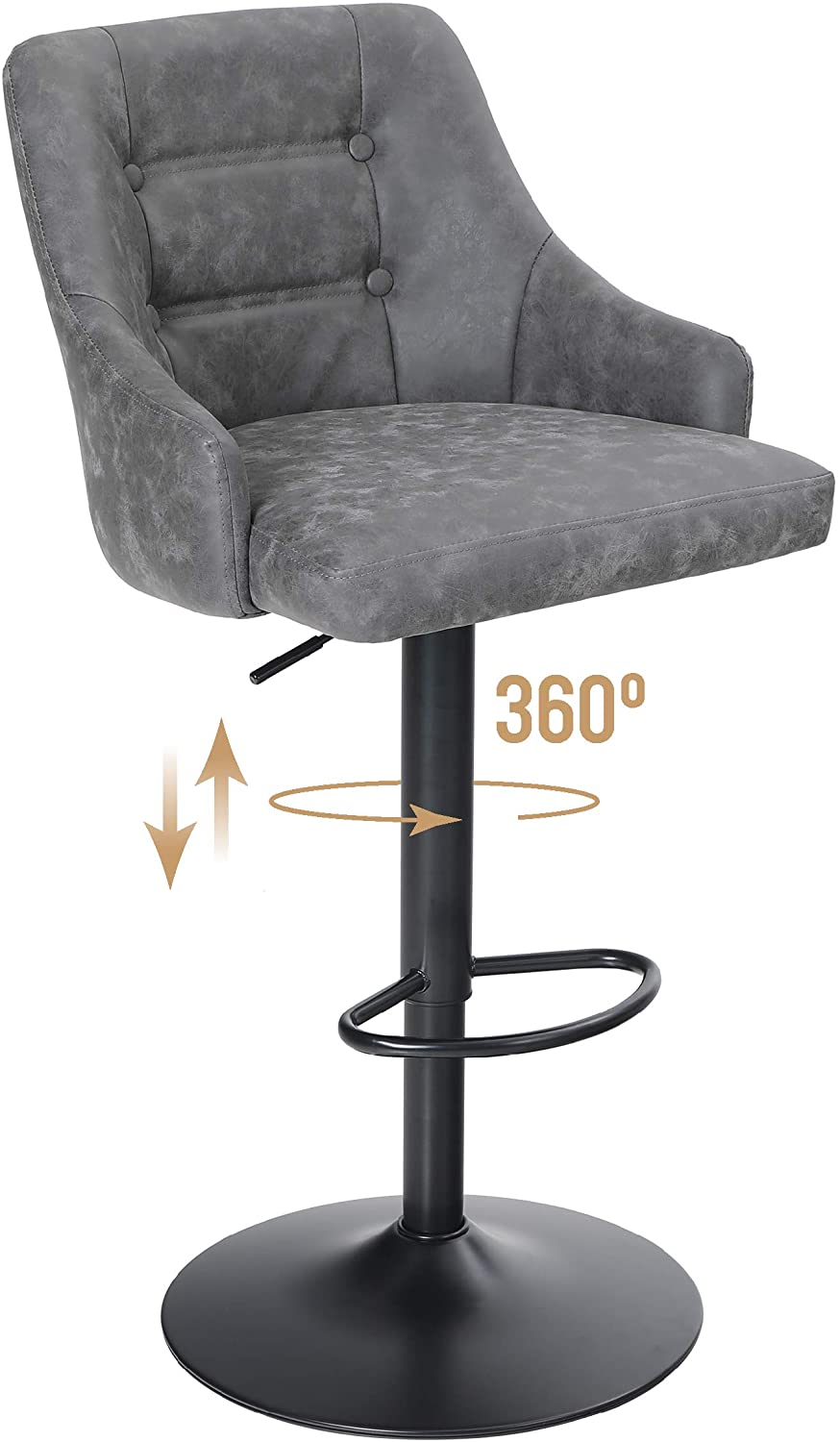 ALPHA HOME 2021 Swivel Bar Stool Same day shipping Adjustable Ba Height Airlift Counter