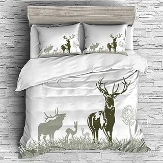 iPrint Soft Luxurious 4 Pcs Decorative Quilt Duvet Cover Set Comforter Cover Set(King Size) Antlers Decor,Wild Animal Deers Field Meadow Grassland Tree Morning Time Park Landscape,
