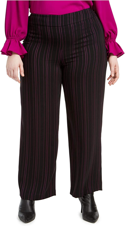 bar III Womens Plus Striped Suit Separate Wide Leg Pants