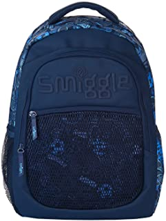Smiggle Mesh Backpack School Bag Travel Bag with Three Zipped Compartments and Laptop Compartment for Kids Above 3 Years o...