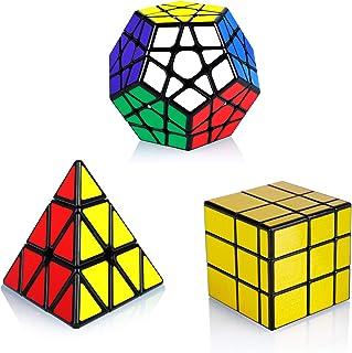 Maomaoyu Cube Set Speed Magic Cube Pyraminx + Megaminx + Mirror Cube Golden 3 Pack PVC Stickers Smooth Magic Cube Puzzle T...