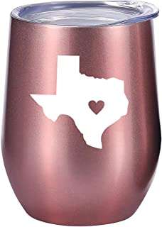 Texas Gifts Wine or Coffee Tumbler 12oz - Unique Texas Themed Gift for Decor, State of Texas, Mug, Women